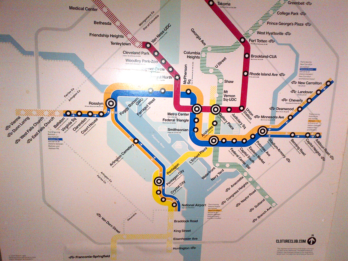 The DC Metro Map from 1983 | ClotureClub.com
